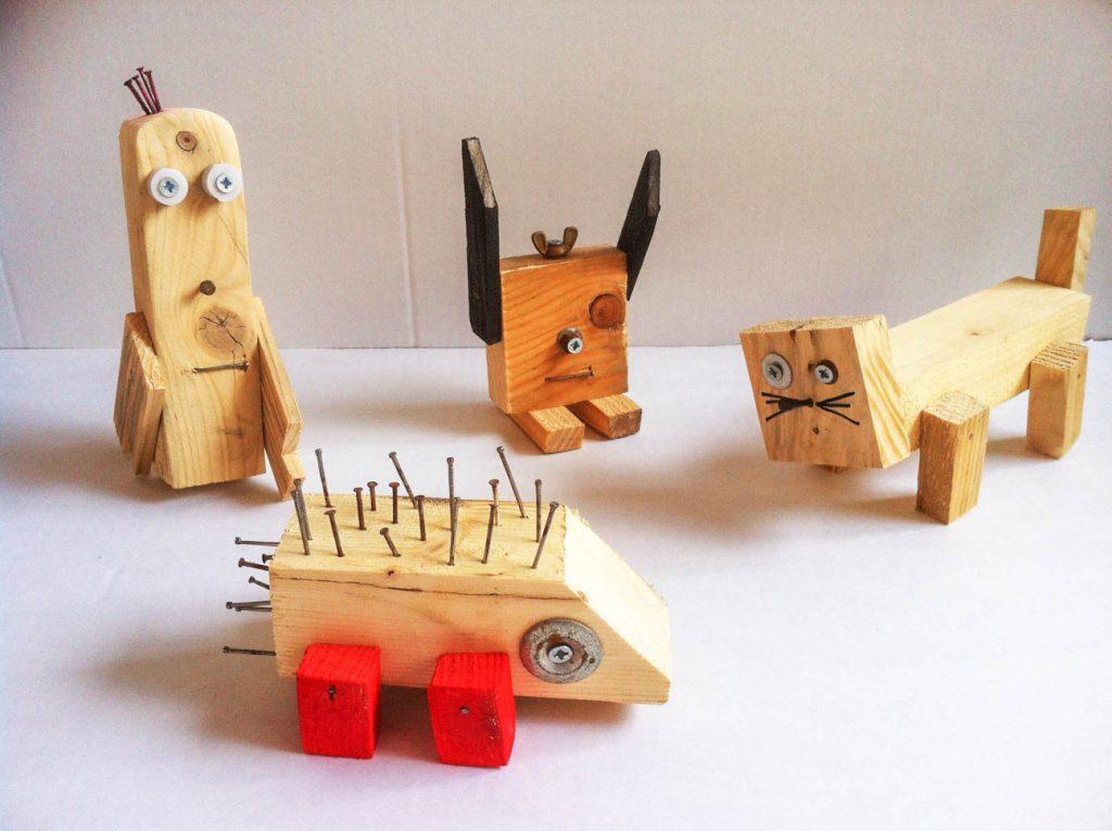סדנאות מגרות לילדים ולכל המשפחה, סדנאות קהילתיות, עבודה עם עץ ממוחזר