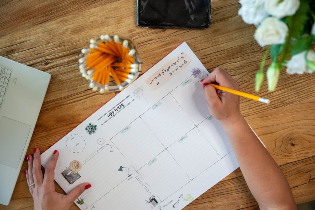 לוח התכנון השבועי של רוית ברק